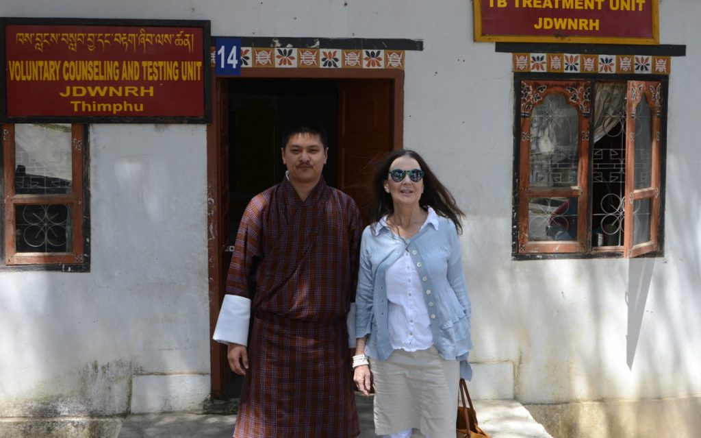 Tashi Dendup, head of Bhutan's TB program, & Darlene Markovich at the TB outpatient clinic in Thimpu, Bhutan